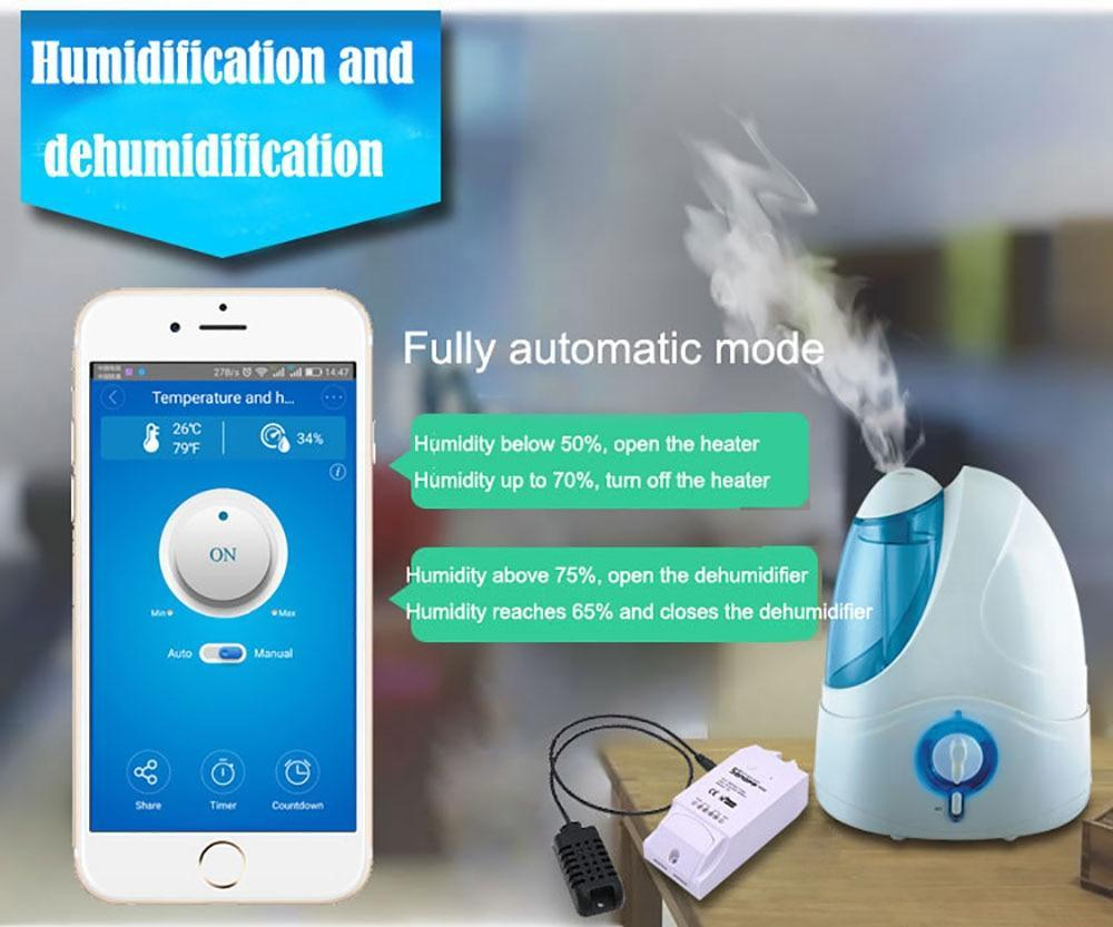 Sonoff TH16 Smart Wifi Switch Monitoring Temperature Humidity