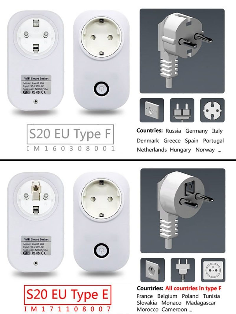 Sonoff S20 Wifi Power Socket Switch