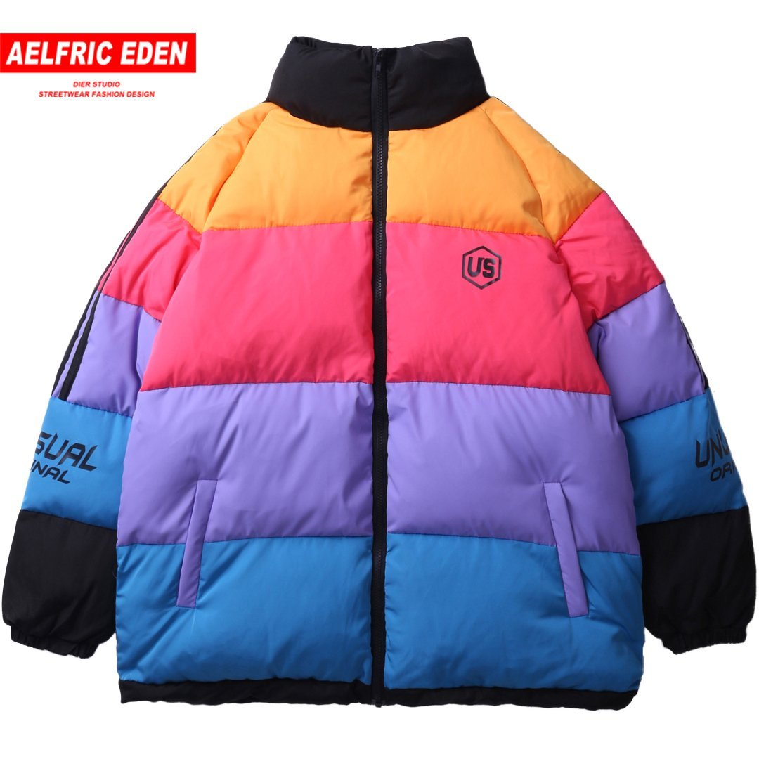 Color Block Winter Thick Mens Parkas