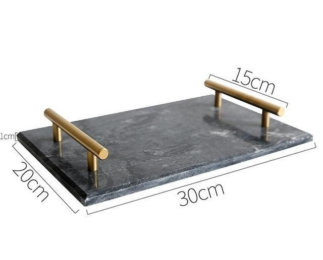 European Gold Handle Marble Tray