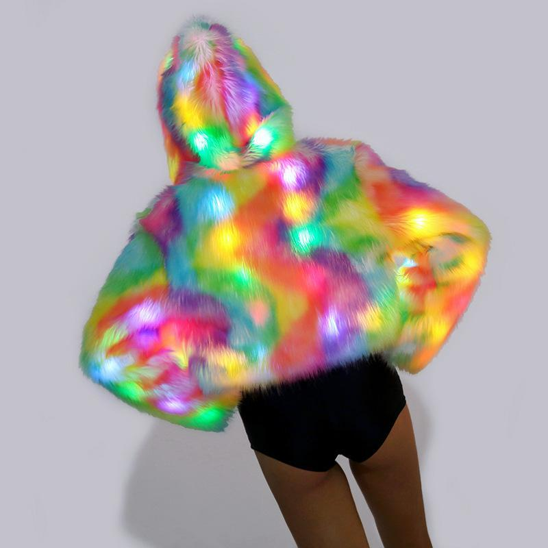 Rainbow Colors Faux Fur Jacket with LED Lights