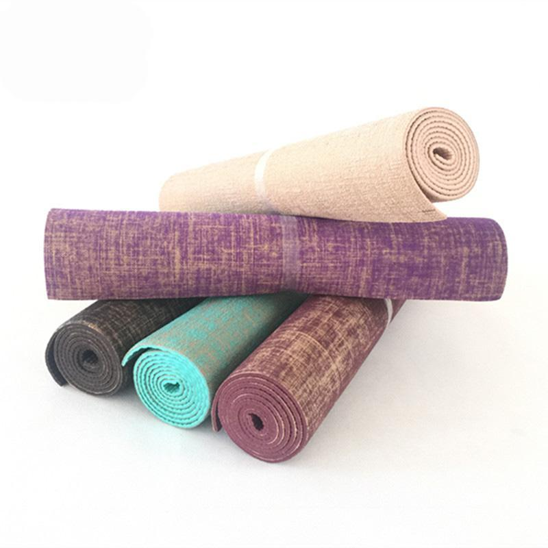 Linen PVC long thick non-slip yoga mat