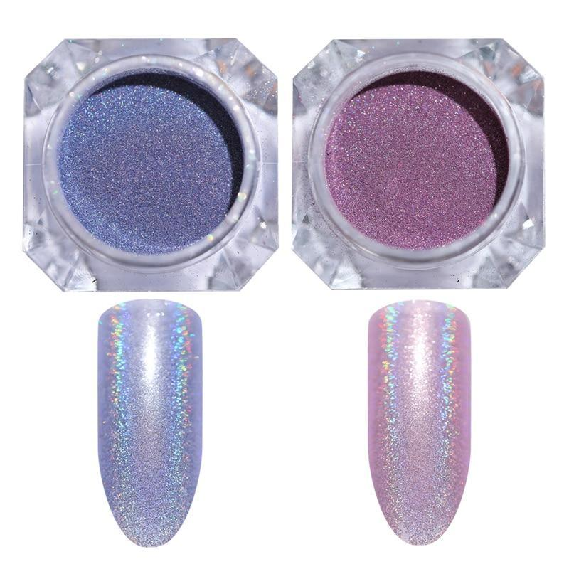 2pcs Holographic Nail Powder