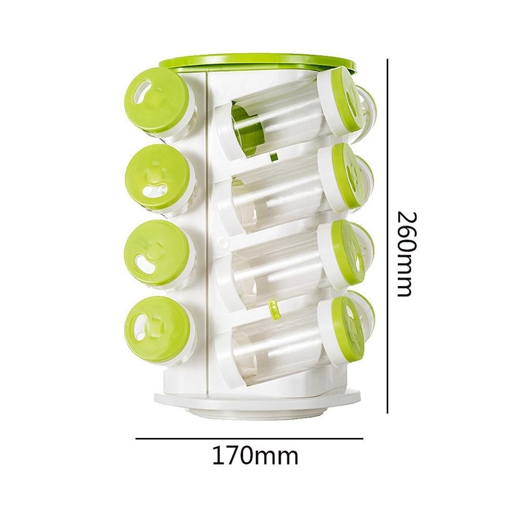 Spice Organizer Set 16Pcs Jars + 1Pc Rack