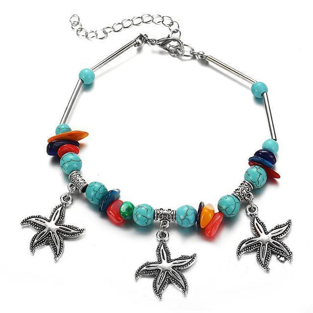 Vintage Shell Beads Starfish Sea Turtle Anklet