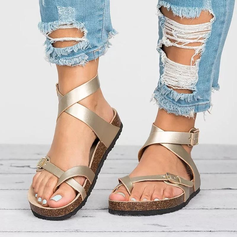 2019 New Leather Flat Women Sandals
