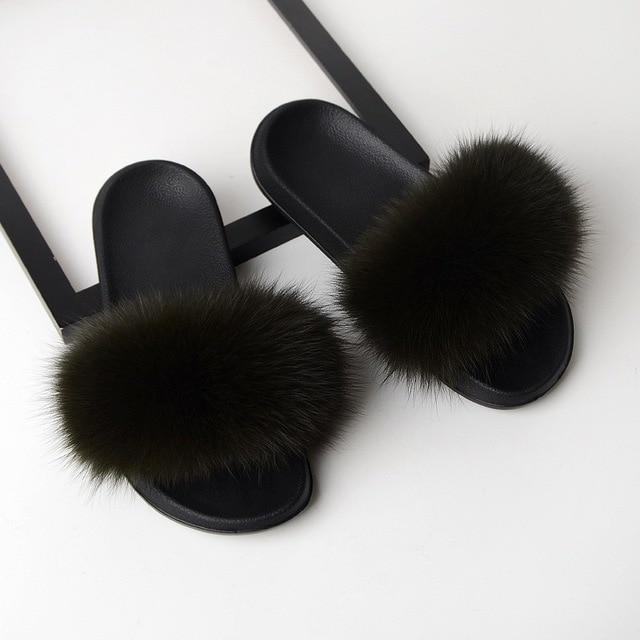 Real Fox Fur Sandals
