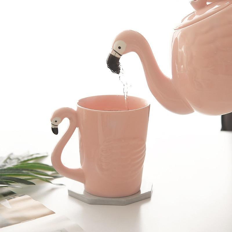 Pink Flamingo Teapot Set