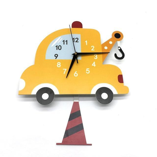 Car Wall Clock For Kids Pendulum Silent Movement