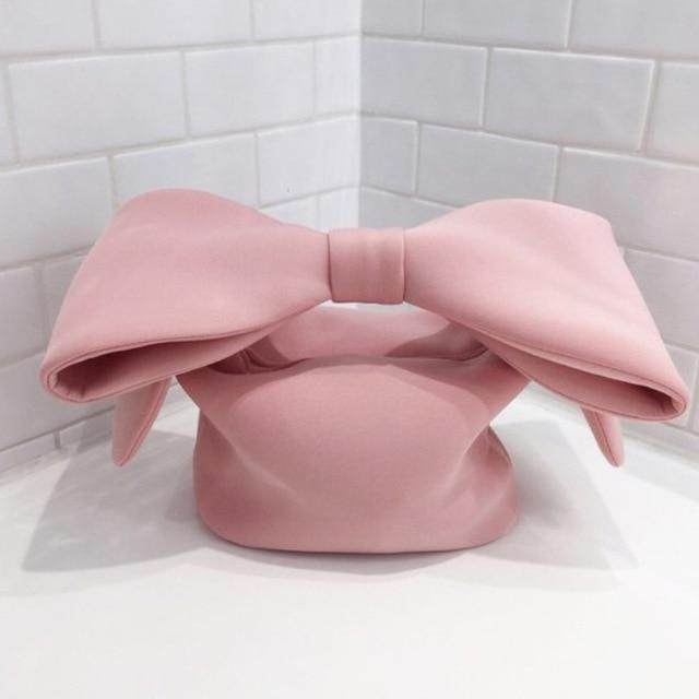 2019 New Personality Pink Color spliced Bow