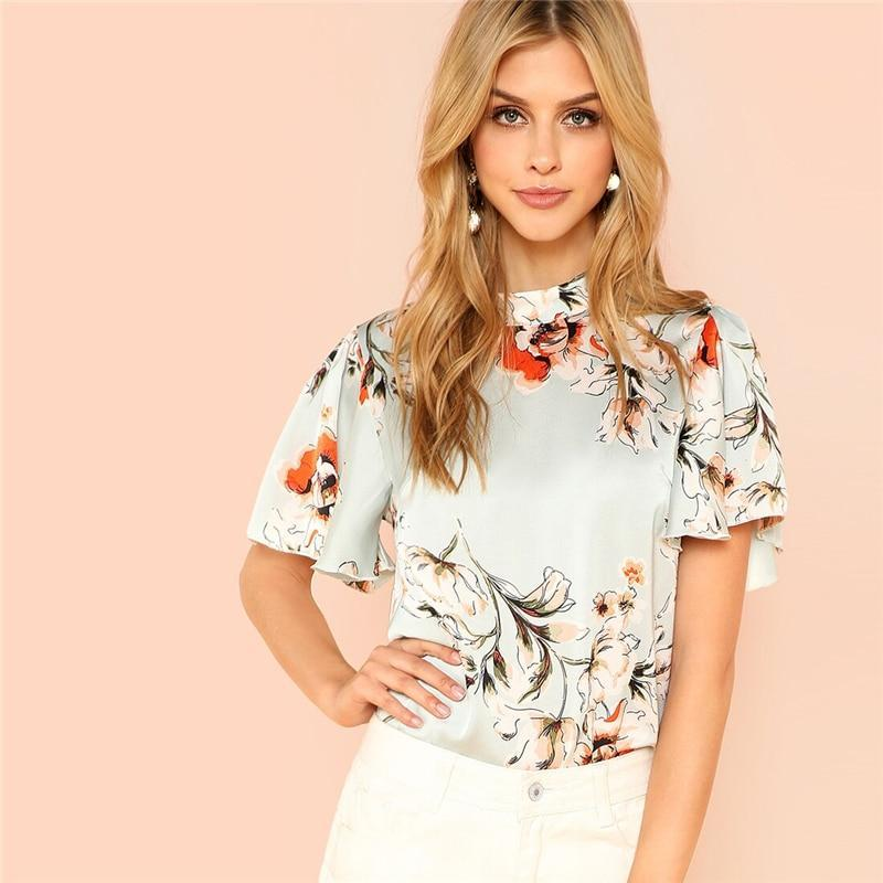 Stand Collar Keyhole Back Floral Blouse Shirt