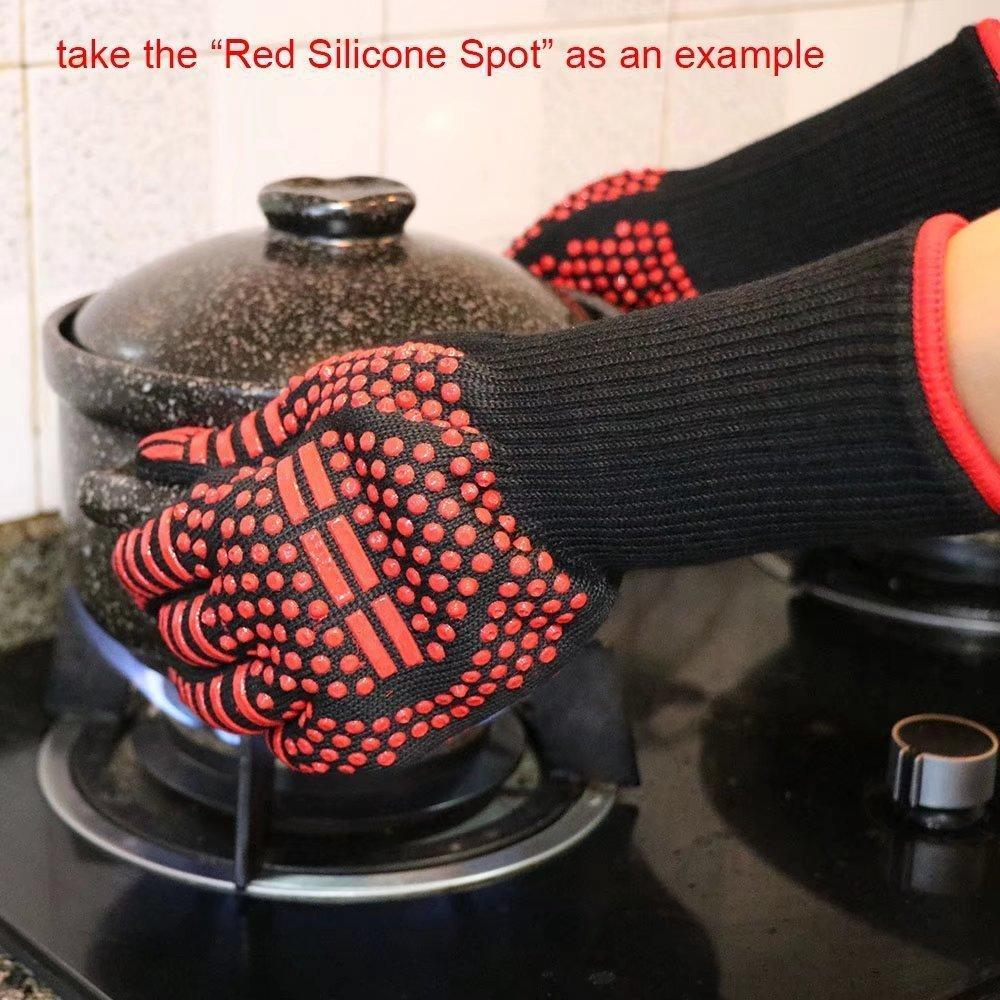 Kitchen Fireproof Gloves Heat Resistant Thick Silicone Gloves For BBQ