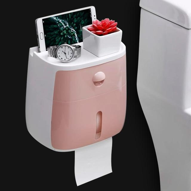 Waterproof Toilet Paper Holder with Tray