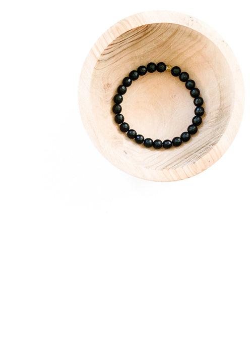 Faceted Matte Black Onyx