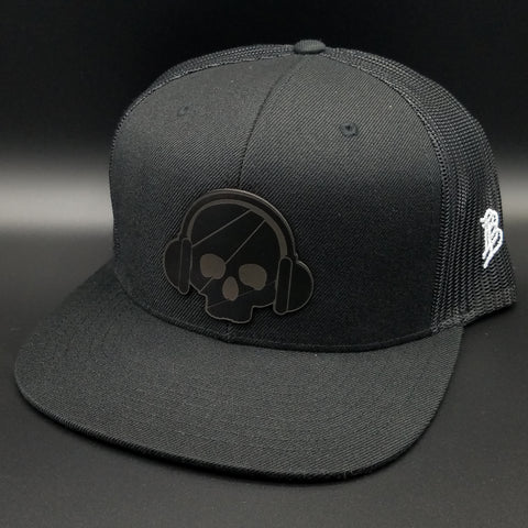 Black on Black w/ Leather Logo Snapback Hat & Pin.
