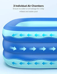 Inflatable Pool, 95 x 56 x 22in Rectangular Swimming Pool for Toddlers, Kids, Family, Above Ground - BEAN Ultra