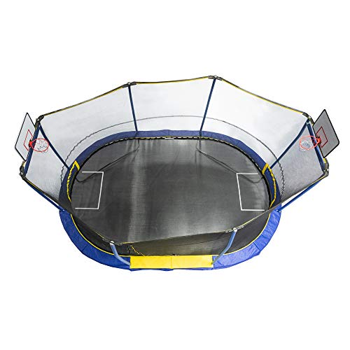 10 x 15 Foot Trampoline with Safety Net Enclosure, 2 Basketball Hoops, 1 Ball, and 1 Soccer Net - BEAN Ultra