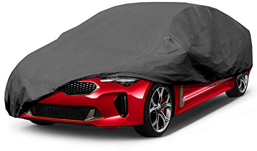 Premium Car Cover 100% Waterproof Fit Car's Length Up to 185'' Breathable Outdoor Indoor Black Sedan Cover - BEAN Ultra