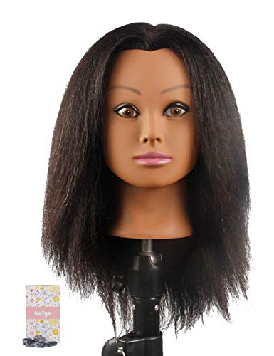 African Mannequin Head Real Hair for Cosmetology, Hairdresser Practice Training Head Doll Head and Table Clamp Stand - BEAN Ultra