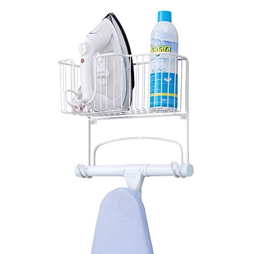 Metal Wall Mount Ironing Board Holder with Large Storage Basket - Holds Iron, Board, Spray Bottles - BEAN Ultra