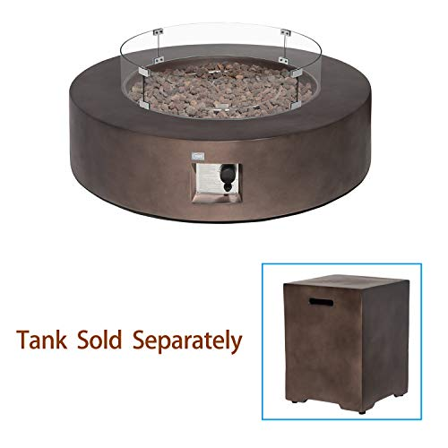 Outdoor Propane Fire Pit Coffee Table w Dark Bronze 42-inch Round Base Patio Heater, 50,000 BTU - BEAN Ultra