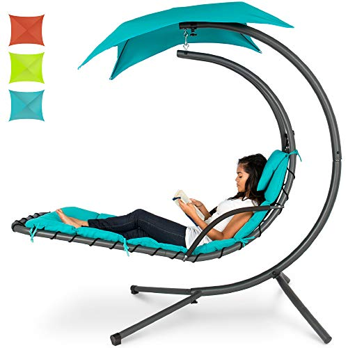 Hanging Curved Chaise Lounge Chair Swing for Backyard, Patio w/Pillow, Canopy, Stand - BEAN Ultra