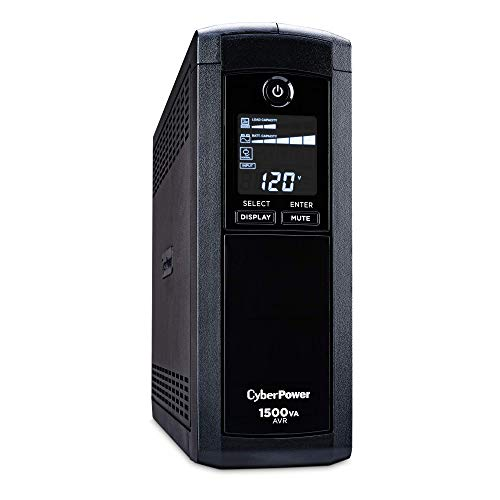 CyberPower Intelligent LCD UPS System, 1500VA/900W, 12 Outlets, Battery Backup Power Supply, Mini-Tower - BEAN Ultra