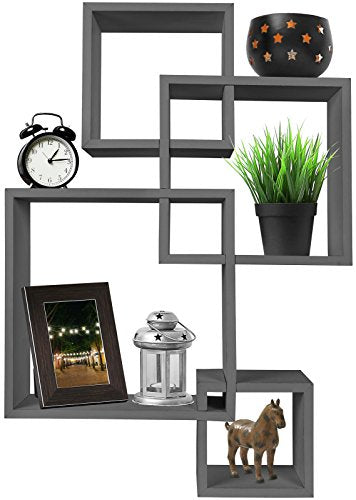 4 Cube Intersecting Wall Mounted Floating Shelves Gray Finish - BEAN Ultra