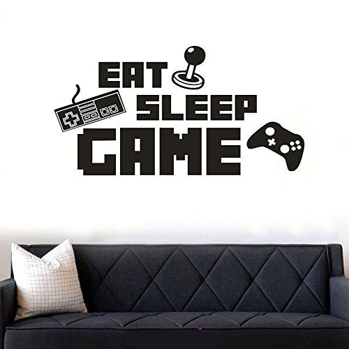 Eat Sleep Game Wall Sticker Decal, Game Room Decor, Kids Room Wall Vinyl Decal - BEAN Ultra