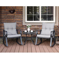 3 Piece Bistro Set Patio Rocking Chairs Outdoor Furniture - BEAN Ultra