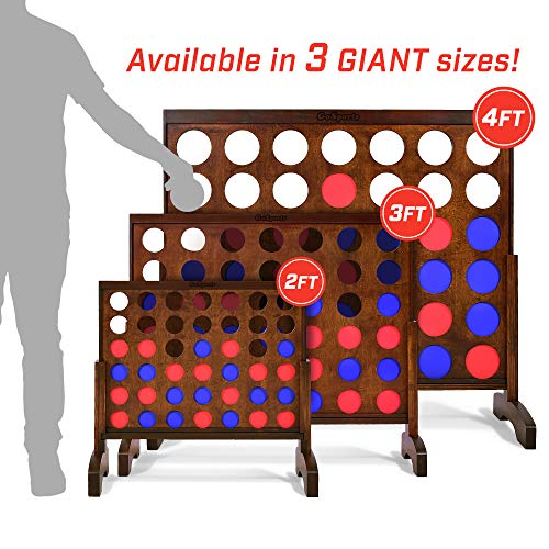 Giant Wooden 4 in a Row Game | Choose Between Classic White or Dark Stain | 3 Foot Width - Jumbo 4 Connect Family Fun - BEAN Ultra