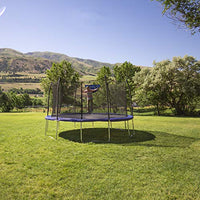 Trampolines 15-Foot Jump N' Dunk Round Trampoline with Enclosure Net - Basketball Trampoline - BEAN Ultra