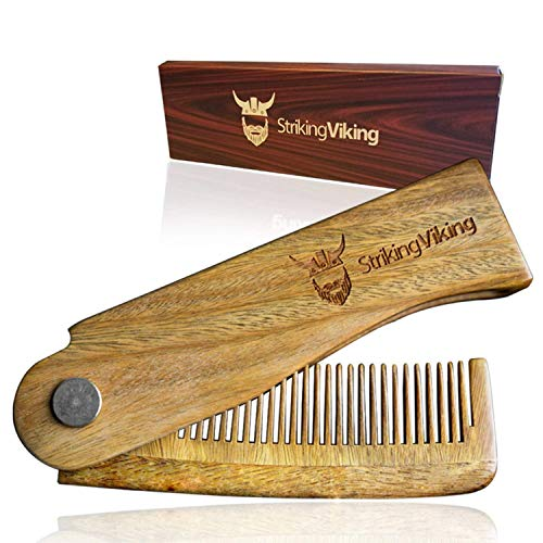 Folding Wooden Comb, Men's Hair, Beard, and Mustache Styling Comb - Pocket Sized, Heavy Duty, Sandal Wood Comb - BEAN Ultra