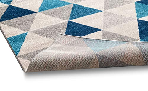 Isometry Blue & Grey Modern Geometric Triangle Pattern 5' x 7' Area Rug Soft Shed Free - BEAN Ultra