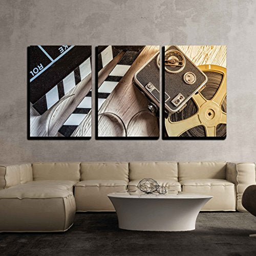 "Film and Camera - Canvas Art Wall Decor - 16""x24""x3 Panels - BEAN Ultra"