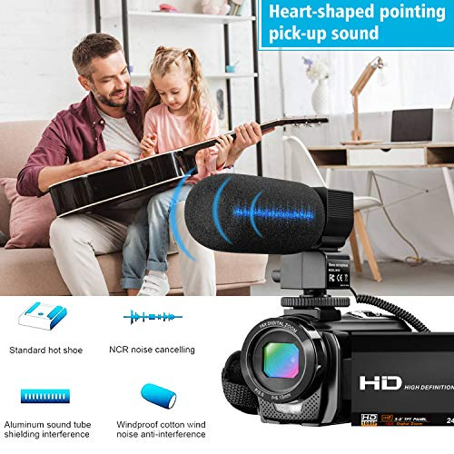 Video Camera Camcorder for YouTube, Digital Vlogging Camera FHD 1080P 30FPS 24MP 16X, Microphone, Remote Control, 2 Batteries - BEAN Ultra