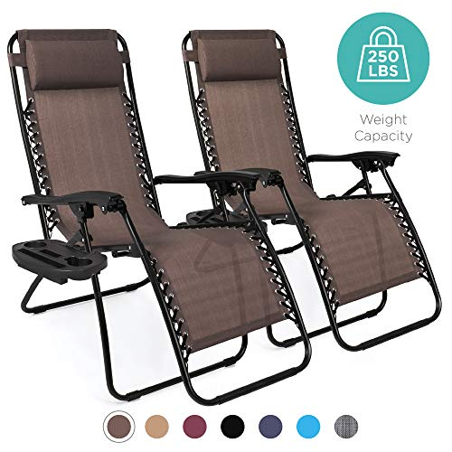 Set of 2 Adjustable Steel Mesh Zero Gravity Lounge Chair Recliners w/Pillows and Cup Holder Trays - BEAN Ultra