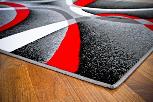 Gray Black Red White Swirls 5'2 x7'2 Modern Abstract Area Rug Carpet by Persian-Rugs - BEAN Ultra