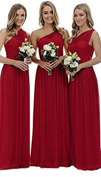 One Shoulder Bridesmaid Dresses For Women Long Chiffon Wedding Prom Evening Gown - BEAN Ultra