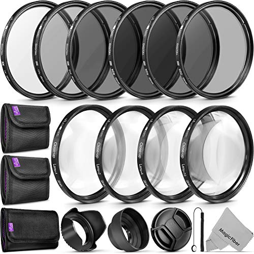 58MM Complete Lens Filter Accessory Kit (UV, CPL, ND4, ND2, ND4, ND8 and Macro Lens Set) for Canon EOS - BEAN Ultra
