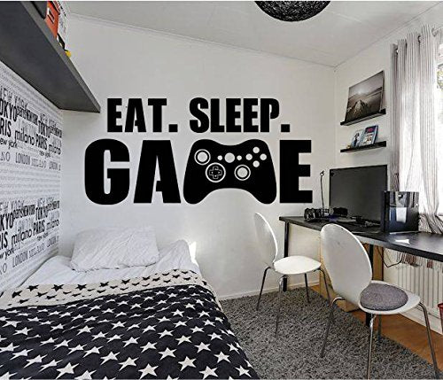 Gamer Eat Sleep Game Wall Decal Controller Stickers Home Decor Customized for Kids Bedroom Vinyl Wall Art Decals - BEAN Ultra