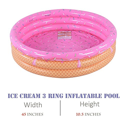 Kiddie Pool, Ice Cream 3 Ring Inflatable Pool for Kids, Ideal Water Pool in Summer, 45 Inches Inflatable Swimming Pool - BEAN Ultra