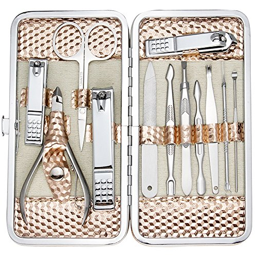 Professional Nail Care kit Manicure Grooming Set with Travel Case (Rose Gold) - BEAN Ultra