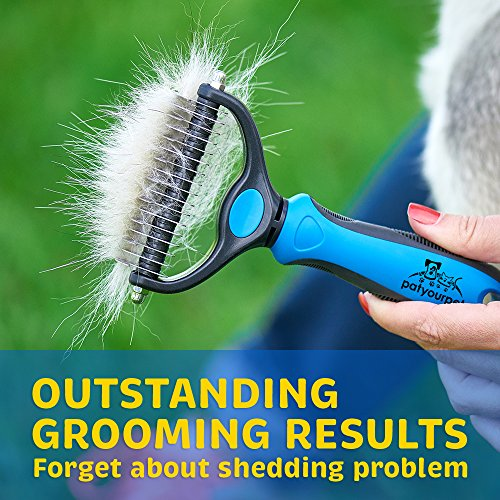 Pet Grooming Tool - 2 Sided Undercoat Rake for Cats & Dogs - Safe Dematting Comb for Easy Mats & Tangles - BEAN Ultra