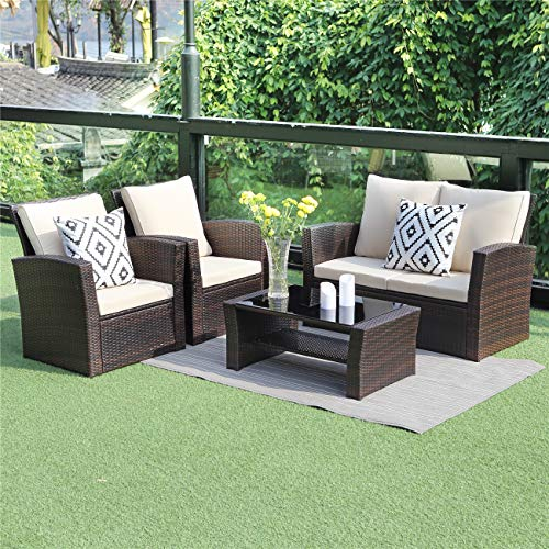 5 Piece Outdoor Patio Furniture Sets, Wicker Rattan Sectional Sofa with Seat Cushions, Brown - BEAN Ultra