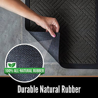 Durable Rubber Door Mat, 29x17, Heavy Duty Doormat, Indoor Outdoor, Waterproof, Easy Clean, Low-Profile Mats - BEAN Ultra