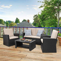 Quality Outdoor Living, 4 Piece Conversation Set Wicker Sectional Sofa with Seat Cushions - BEAN Ultra
