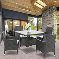 5 Piece Outdoor Patio Dining Set, Wicker Glassed Table and Cushioned Chair, Umbrella Cut Out - BEAN Ultra