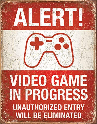 Video Game in Progress Tin Sign, 12.5