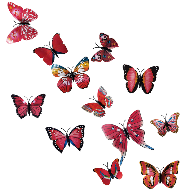 Colorful 3D Butterfly Wall Decals DIY Set of 12 | Wall Sticker Decor | Magnet Decor - BEAN Ultra